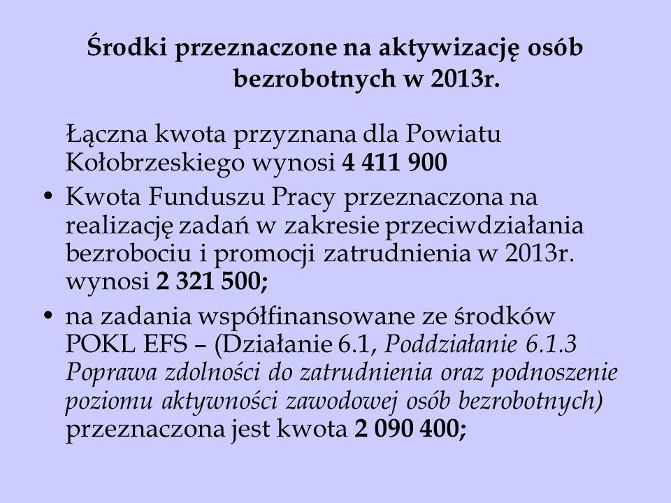 Środki przeznaczone na aktywizację osób bezrobotnych w 2013r.