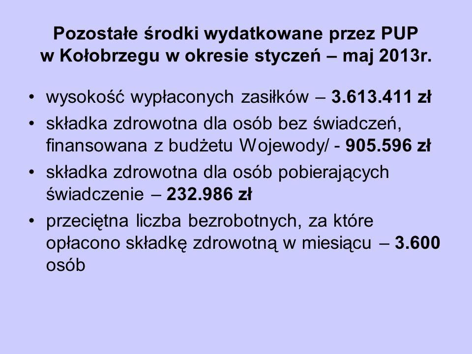 Pozostałe środki wydatkowane przez PUP w Kołobrzegu w okresie styczeń – maj 2013r.