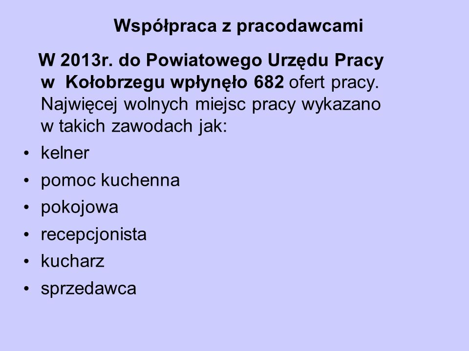 Współpraca z pracodawcami W 2013r.