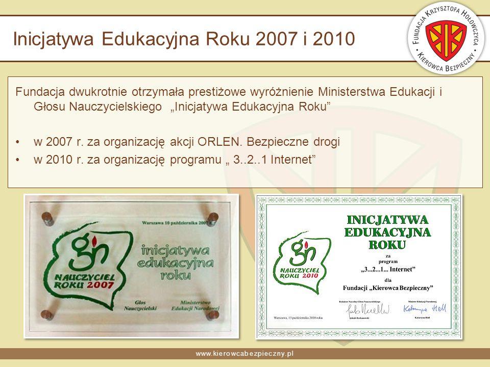 www.kierowcabezpieczny.pl Inicjatywa Edukacyjna Roku 2007 i 2010 Fundacja dwukrotnie otrzymała prestiżowe wyróżnienie Ministerstwa Edukacji i Głosu Nauczycielskiego Inicjatywa Edukacyjna Roku w 2007 r.