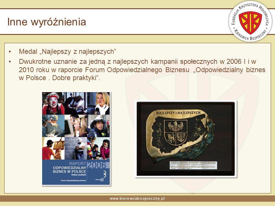 www.kierowcabezpieczny.pl Inne wyróżnienia Medal Najlepszy z najlepszych Dwukrotne uznanie za jedną z najlepszych kampanii społecznych w 2006 I i w 2010 roku w raporcie Forum Odpowiedzialnego Biznesu Odpowiedzialny biznes w Polsce.