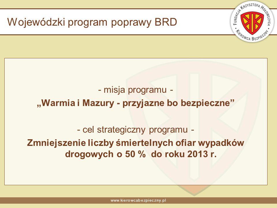 www.kierowcabezpieczny.pl Wojewódzki program poprawy BRD - misja programu - Warmia i Mazury - przyjazne bo bezpieczne - cel strategiczny programu - Zmniejszenie liczby śmiertelnych ofiar wypadków drogowych o 50 % do roku 2013 r.
