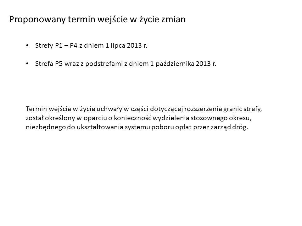 Proponowany termin wejście w życie zmian Strefy P1 – P4 z dniem 1 lipca 2013 r.