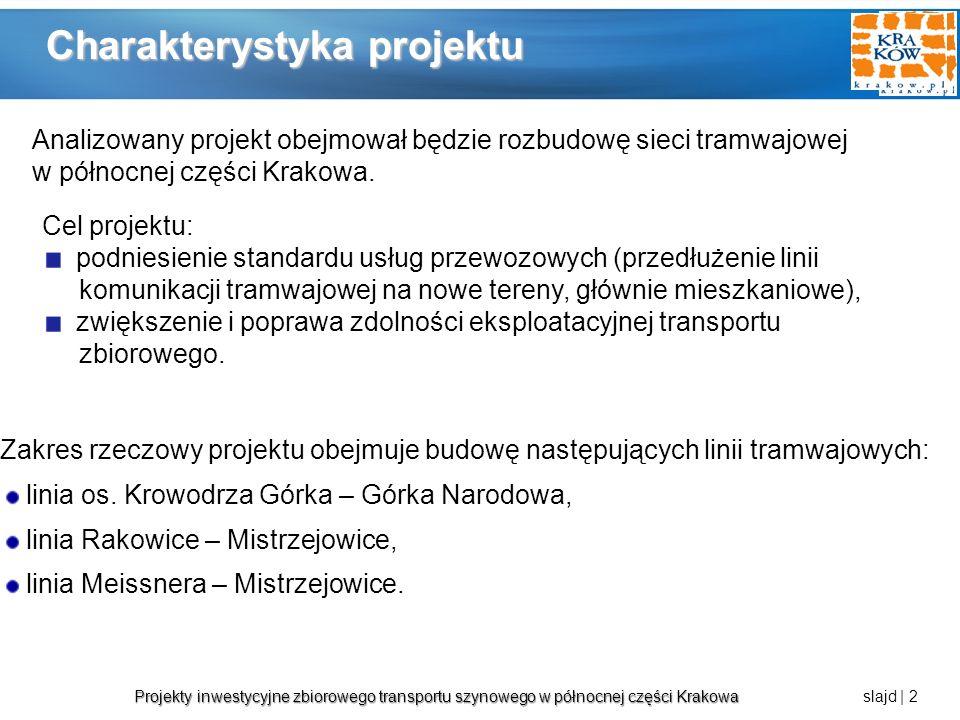 Projekty inwestycyjne zbiorowego transportu szynowego w północnej części Krakowa Projekty inwestycyjne zbiorowego transportu szynowego w północnej części Krakowa slajd | 3 Komunikacja tramwajowa linia tramwajowa os.