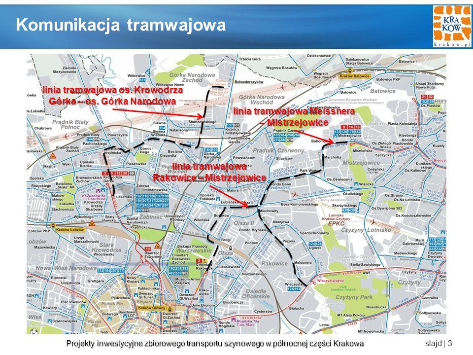 Projekty inwestycyjne zbiorowego transportu szynowego w północnej części Krakowa Projekty inwestycyjne zbiorowego transportu szynowego w północnej części Krakowa slajd | 4 Linia Krowodrza Górka – Górka Narodowa Źródło: opracowanie własne