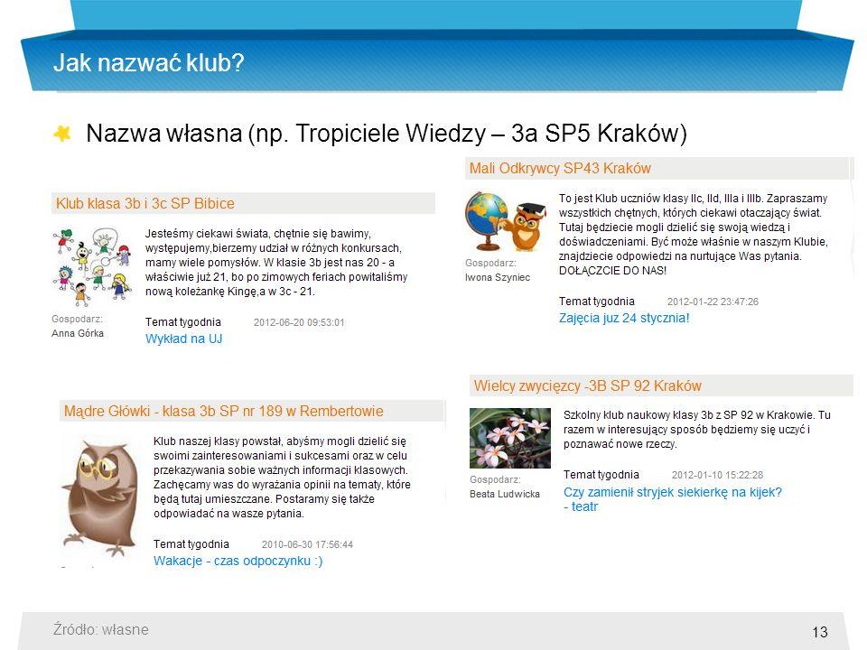 13 Jak nazwać klub Nazwa własna (np. Tropiciele Wiedzy – 3a SP5 Kraków) Źródło: własne