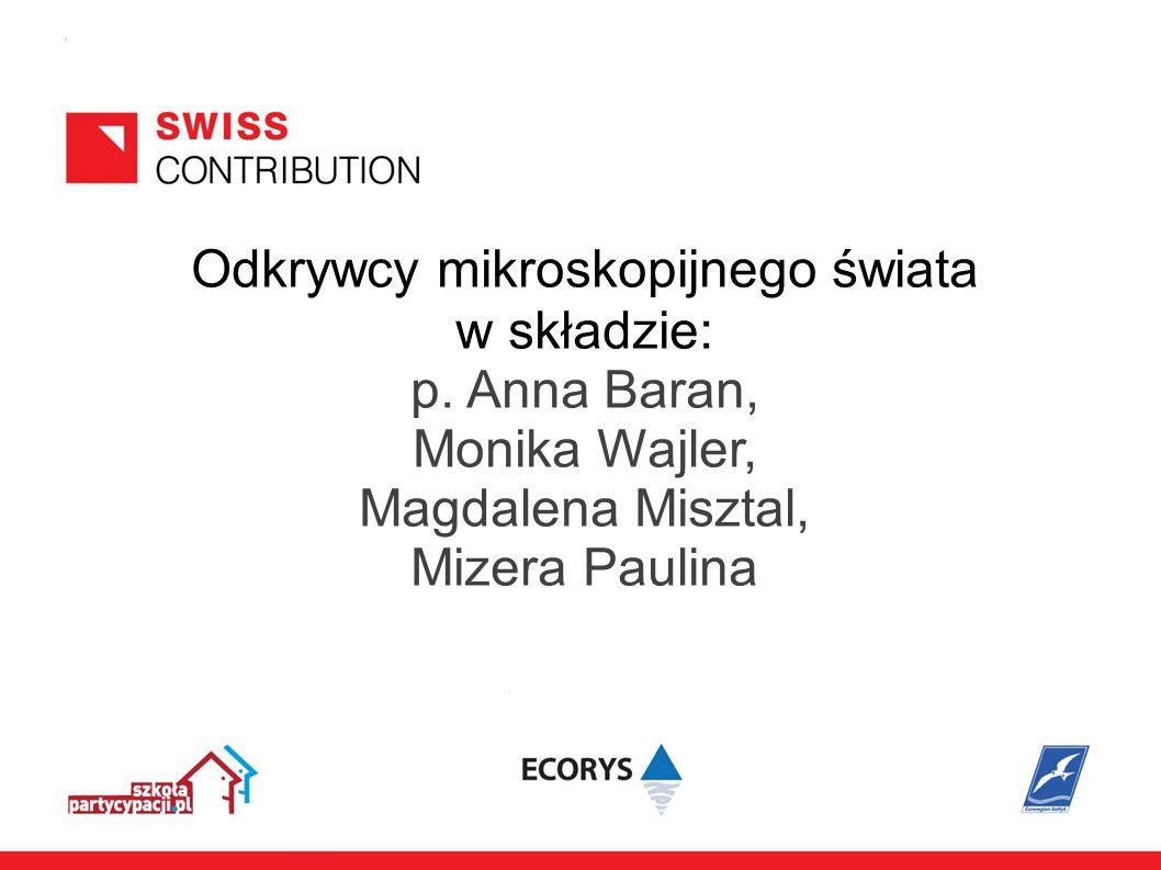 Odkrywcy mikroskopijnego świata w składzie: p. Anna Baran, Monika Wajler, Magdalena Misztal, Mizera Paulina
