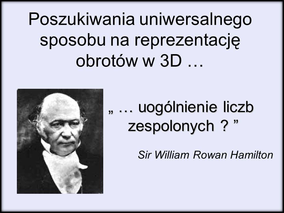 Poszukiwania uniwersalnego sposobu na reprezentację obrotów w 3D … … uogólnienie liczb … uogólnienie liczb zespolonych ? zespolonych ? Sir William Row