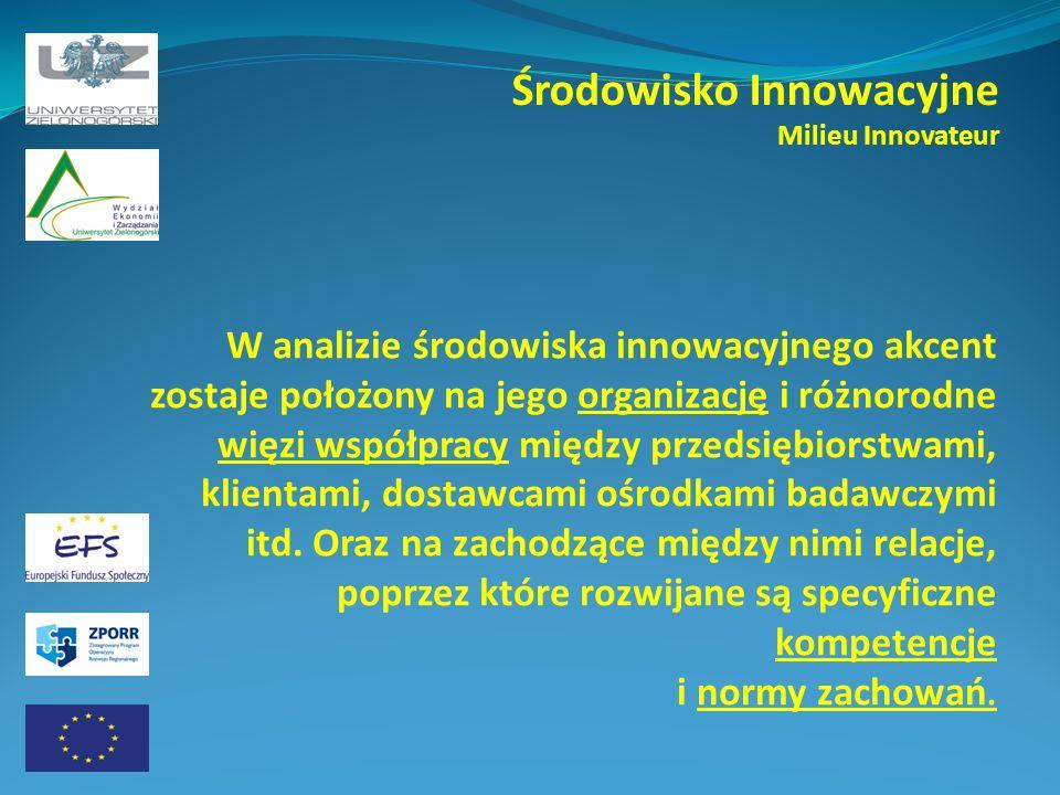Środowisko Innowacyjne Milieu Innovateur W analizie środowiska innowacyjnego akcent zostaje położony na jego organizację i różnorodne więzi współpracy między przedsiębiorstwami, klientami, dostawcami ośrodkami badawczymi itd.