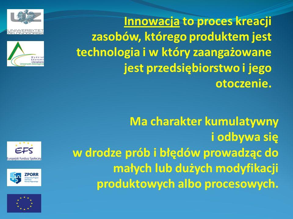 Innowacja to proces kreacji zasobów, którego produktem jest technologia i w który zaangażowane jest przedsiębiorstwo i jego otoczenie. Ma charakter ku