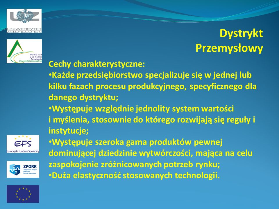 Dystrykt Przemysłowy Cechy charakterystyczne: Każde przedsiębiorstwo specjalizuje się w jednej lub kilku fazach procesu produkcyjnego, specyficznego d