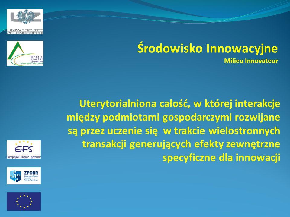 Środowisko Innowacyjne Milieu Innovateur Uterytorialniona całość, w której interakcje między podmiotami gospodarczymi rozwijane są przez uczenie się w trakcie wielostronnych transakcji generujących efekty zewnętrzne specyficzne dla innowacji
