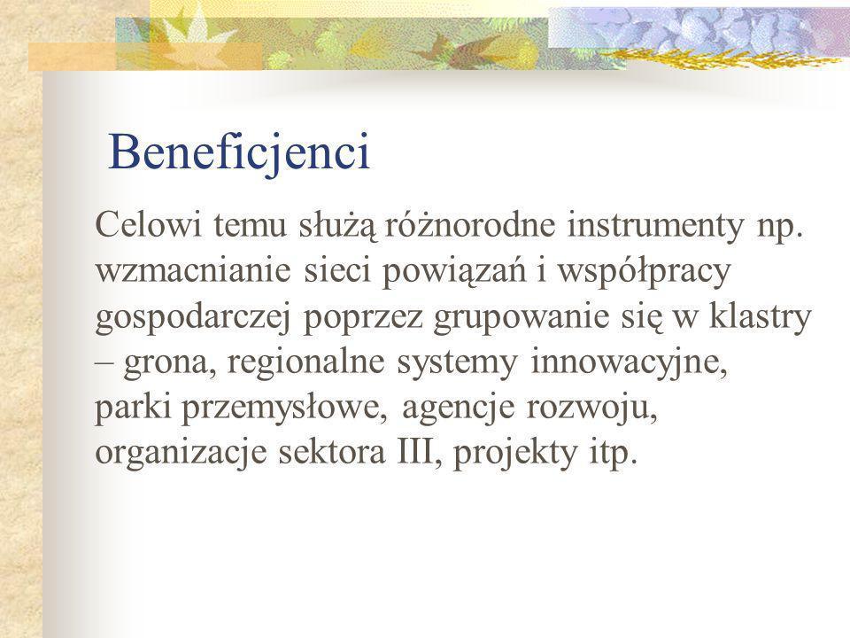 Beneficjenci Celowi temu służą różnorodne instrumenty np.