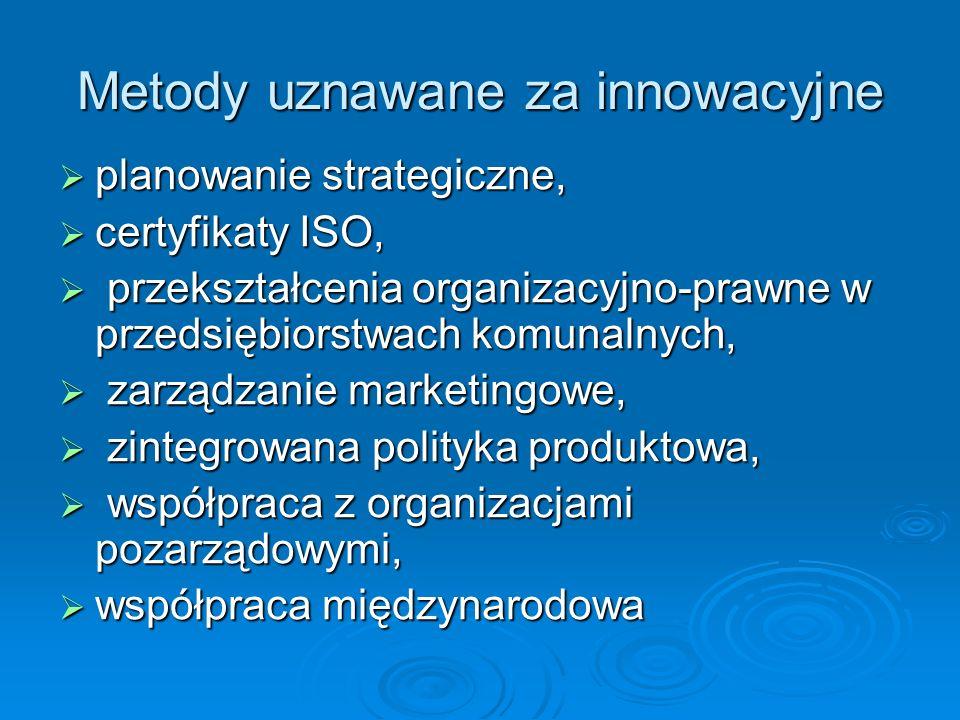 Metody uznawane za innowacyjne planowanie strategiczne, planowanie strategiczne, certyfikaty ISO, certyfikaty ISO, przekształcenia organizacyjno-prawne w przedsiębiorstwach komunalnych, przekształcenia organizacyjno-prawne w przedsiębiorstwach komunalnych, zarządzanie marketingowe, zarządzanie marketingowe, zintegrowana polityka produktowa, zintegrowana polityka produktowa, współpraca z organizacjami pozarządowymi, współpraca z organizacjami pozarządowymi, współpraca międzynarodowa współpraca międzynarodowa