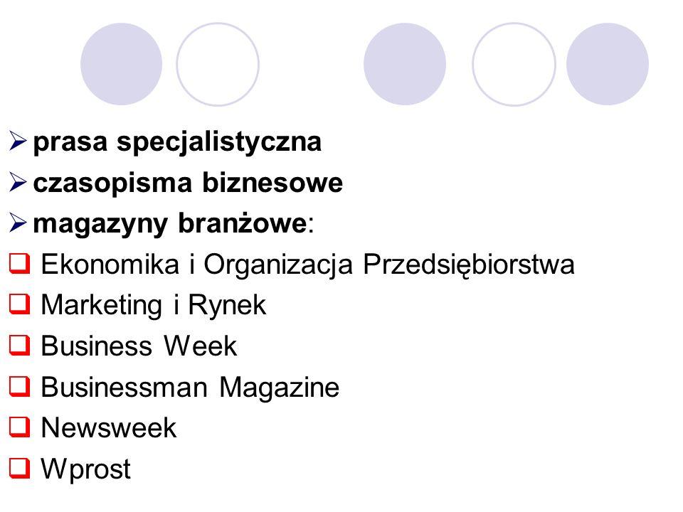 prasa specjalistyczna czasopisma biznesowe magazyny branżowe: Ekonomika i Organizacja Przedsiębiorstwa Marketing i Rynek Business Week Businessman Magazine Newsweek Wprost