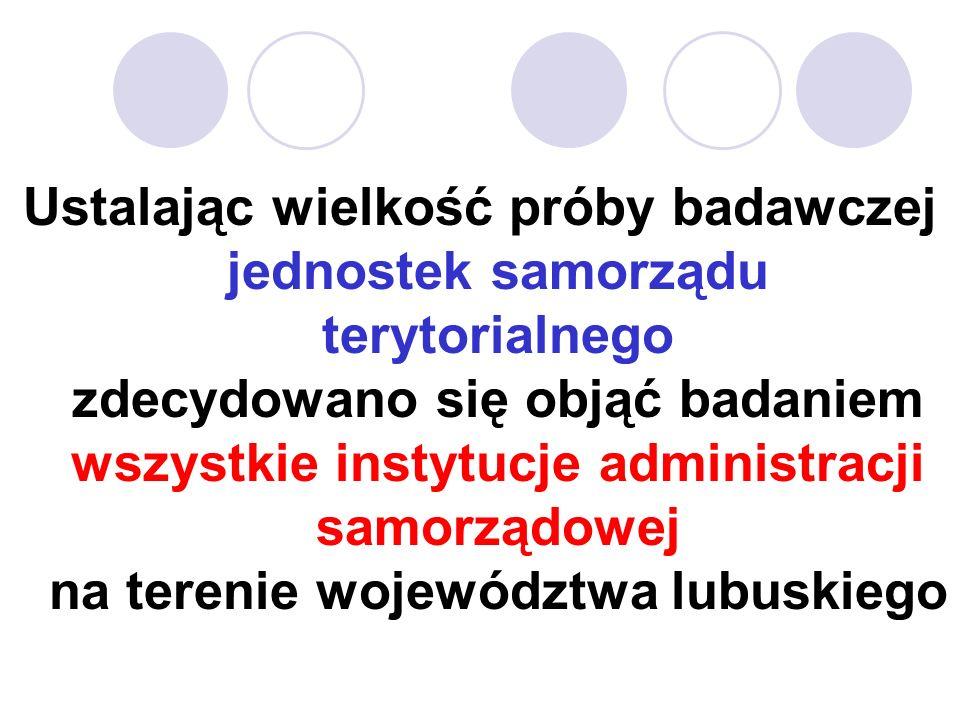 Ustalając wielkość próby badawczej jednostek samorządu terytorialnego zdecydowano się objąć badaniem wszystkie instytucje administracji samorządowej na terenie województwa lubuskiego