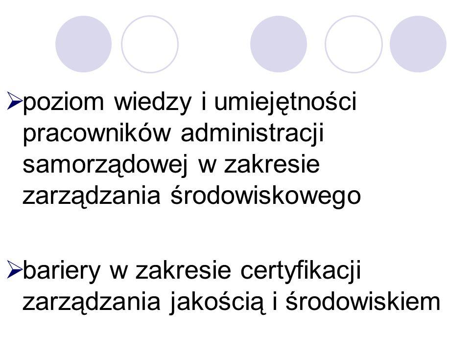 Zakres przedmiotowy badań analiza postaw i działań przedsiębiorstw oraz jednostek administracji samorządowej szczebla lokalnego w województwie lubuskim w zakresie zarządzania środowiskowego