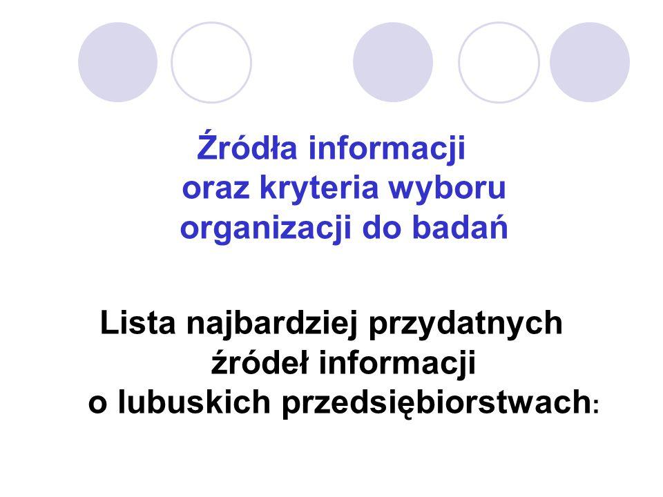 Źródła informacji oraz kryteria wyboru organizacji do badań Lista najbardziej przydatnych źródeł informacji o lubuskich przedsiębiorstwach :