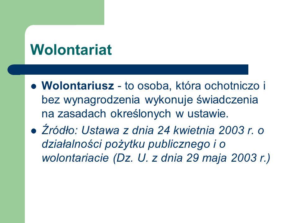 Wolontariat Wolontariusz - to osoba, która ochotniczo i bez wynagrodzenia wykonuje świadczenia na zasadach określonych w ustawie.