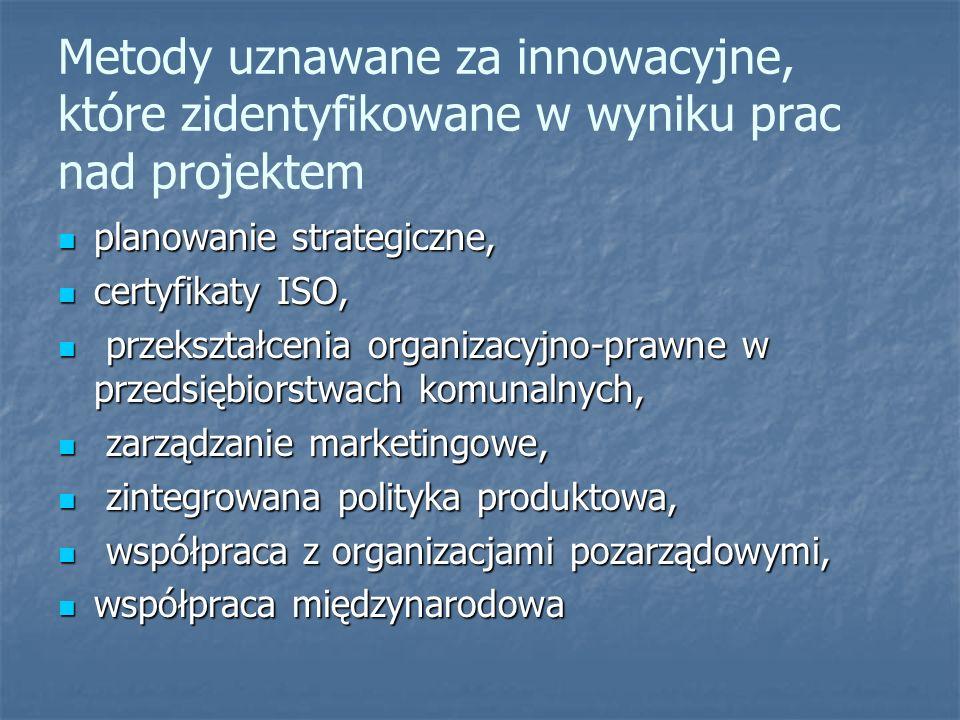 Metody uznawane za innowacyjne, które zidentyfikowane w wyniku prac nad projektem planowanie strategiczne, planowanie strategiczne, certyfikaty ISO, certyfikaty ISO, przekształcenia organizacyjno-prawne w przedsiębiorstwach komunalnych, przekształcenia organizacyjno-prawne w przedsiębiorstwach komunalnych, zarządzanie marketingowe, zarządzanie marketingowe, zintegrowana polityka produktowa, zintegrowana polityka produktowa, współpraca z organizacjami pozarządowymi, współpraca z organizacjami pozarządowymi, współpraca międzynarodowa współpraca międzynarodowa