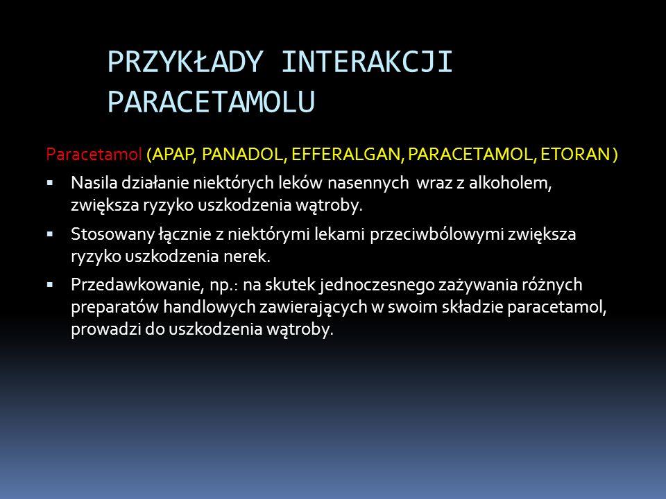 PRZYKŁADY INTERAKCJI PARACETAMOLU Paracetamol (APAP, PANADOL, EFFERALGAN, PARACETAMOL, ETORAN ) Nasila działanie niektórych leków nasennych wraz z alk