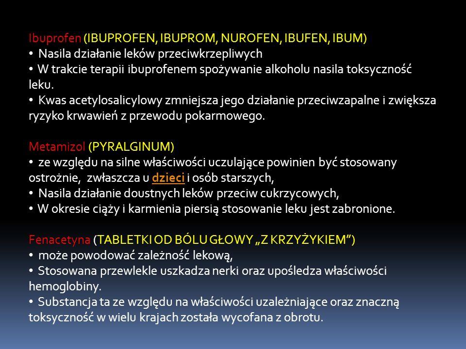 Ibuprofen (IBUPROFEN, IBUPROM, NUROFEN, IBUFEN, IBUM) Nasila działanie leków przeciwkrzepliwych W trakcie terapii ibuprofenem spożywanie alkoholu nasi