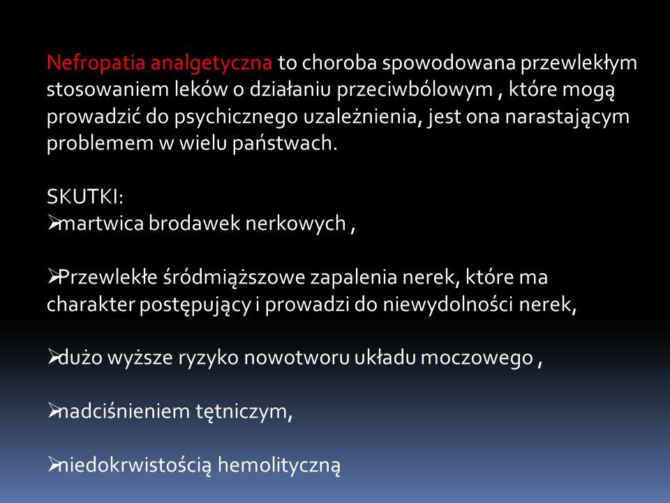 Nefropatia analgetyczna to choroba spowodowana przewlekłym stosowaniem leków o działaniu przeciwbólowym, które mogą prowadzić do psychicznego uzależni