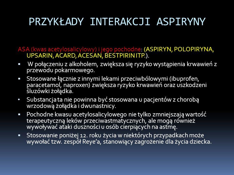 PRZYKŁADY INTERAKCJI ASPIRYNY ASA (kwas acetylosalicylowy) i jego pochodne: (ASPIRYN, POLOPIRYNA, UPSARIN, ACARD, ACESAN, BESTPIRIN ITP.). W połączeni