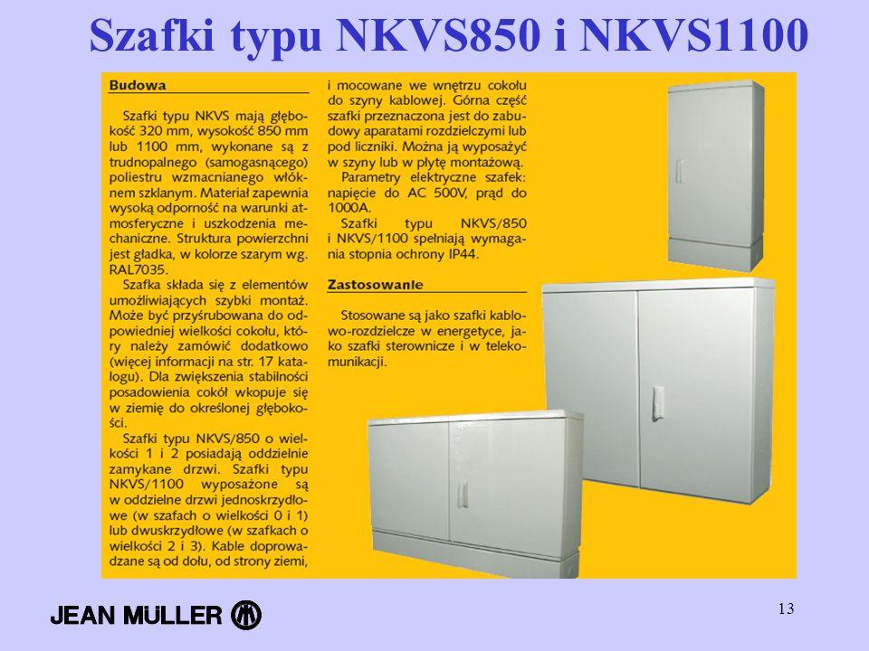 13 Szafki typu NKVS850 i NKVS1100