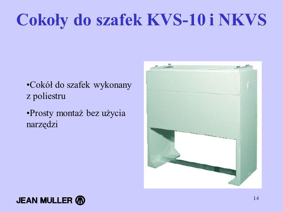 14 Cokoły do szafek KVS-10 i NKVS Cokół do szafek wykonany z poliestru Prosty montaż bez użycia narzędzi