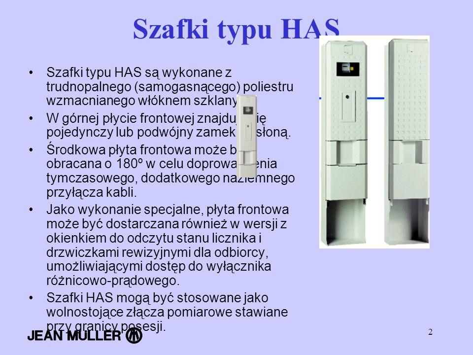 2 Szafki typu HAS Szafki typu HAS są wykonane z trudnopalnego (samogasnącego) poliestru wzmacnianego włóknem szklanym. W górnej płycie frontowej znajd