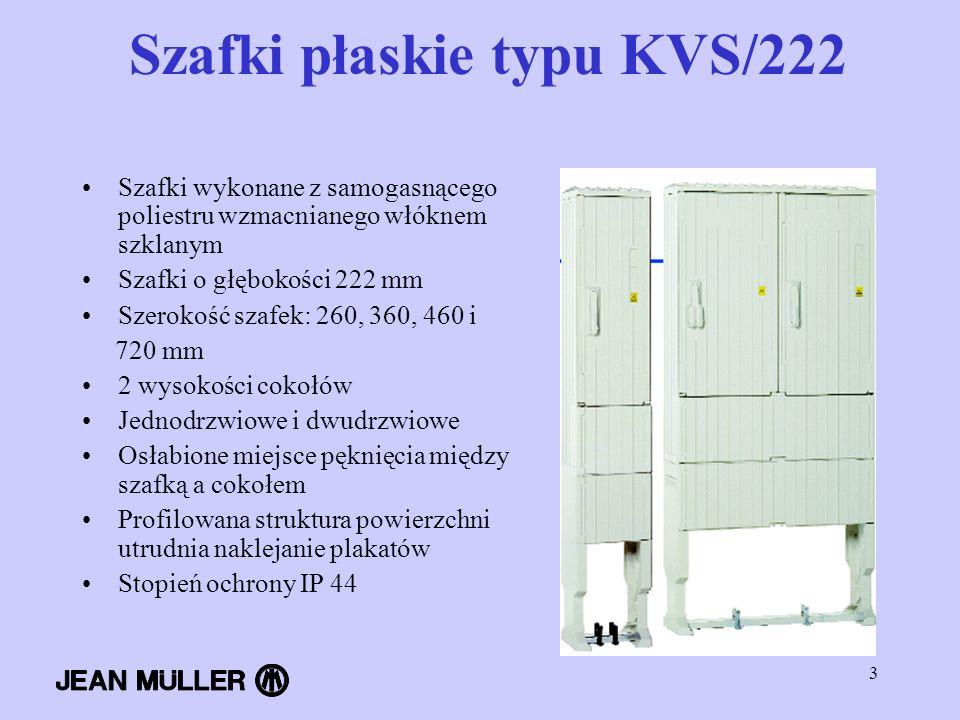 3 Szafki płaskie typu KVS/222 Szafki wykonane z samogasnącego poliestru wzmacnianego włóknem szklanym Szafki o głębokości 222 mm Szerokość szafek: 260