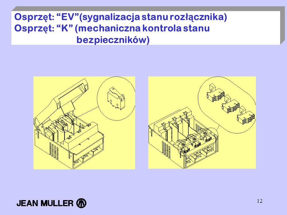 12 Osprz ę t : EV(sygnalizacja stanu roz łą cznika) Osprz ę t : K (mechaniczna kontrola stanu bezpieczników)