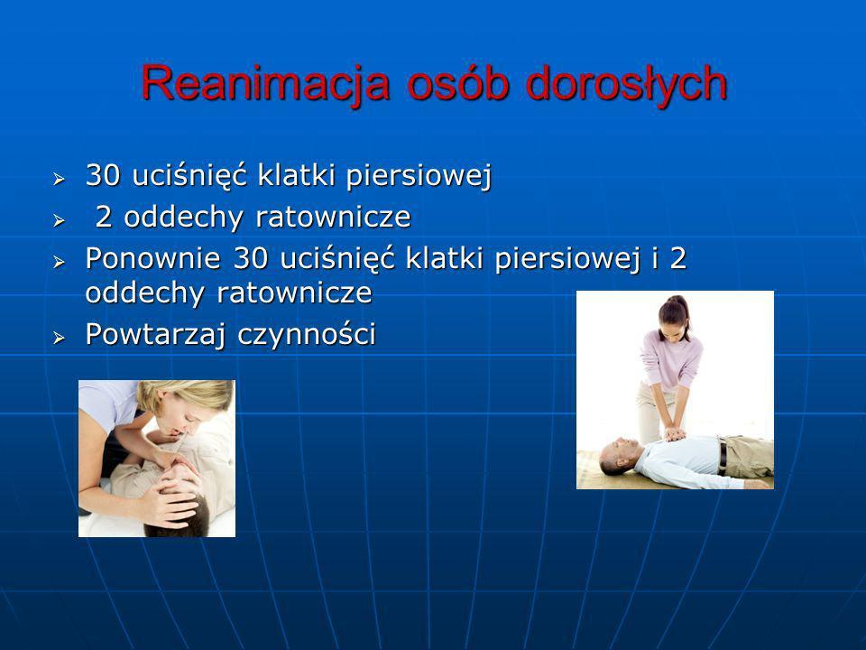 Reanimacja osób dorosłych 30 uciśnięć klatki piersiowej 30 uciśnięć klatki piersiowej 2 oddechy ratownicze 2 oddechy ratownicze Ponownie 30 uciśnięć k