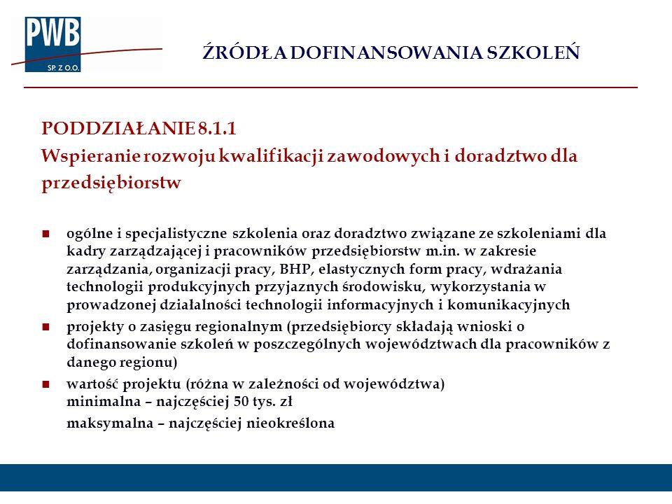 PODDZIAŁANIE 8.1.1 Wspieranie rozwoju kwalifikacji zawodowych i doradztwo dla przedsiębiorstw ogólne i specjalistyczne szkolenia oraz doradztwo związa