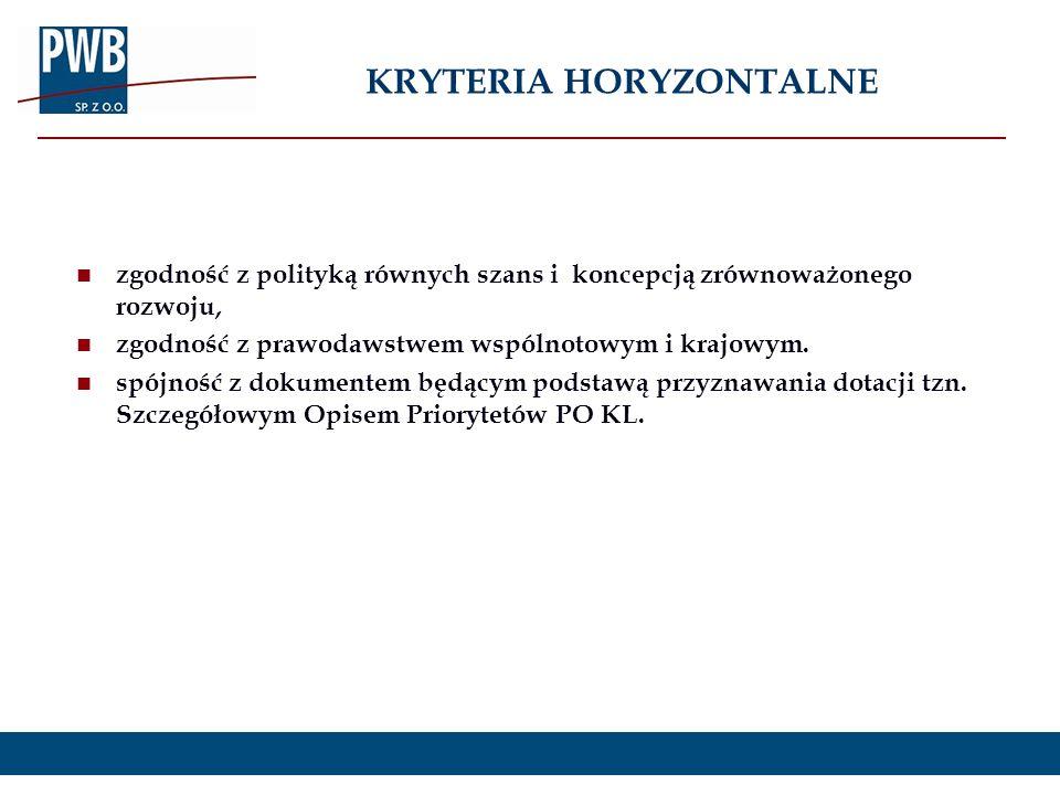 zgodność z polityką równych szans i koncepcją zrównoważonego rozwoju, zgodność z prawodawstwem wspólnotowym i krajowym. spójność z dokumentem będącym