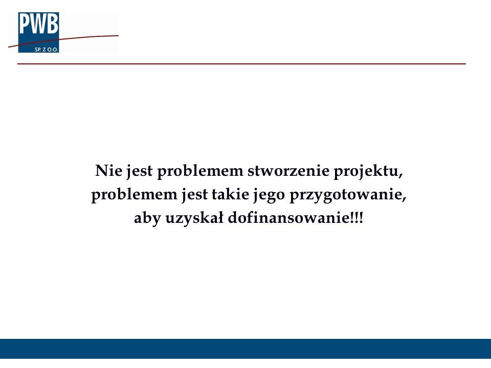 Nie jest problemem stworzenie projektu, problemem jest takie jego przygotowanie, aby uzyskał dofinansowanie!!!