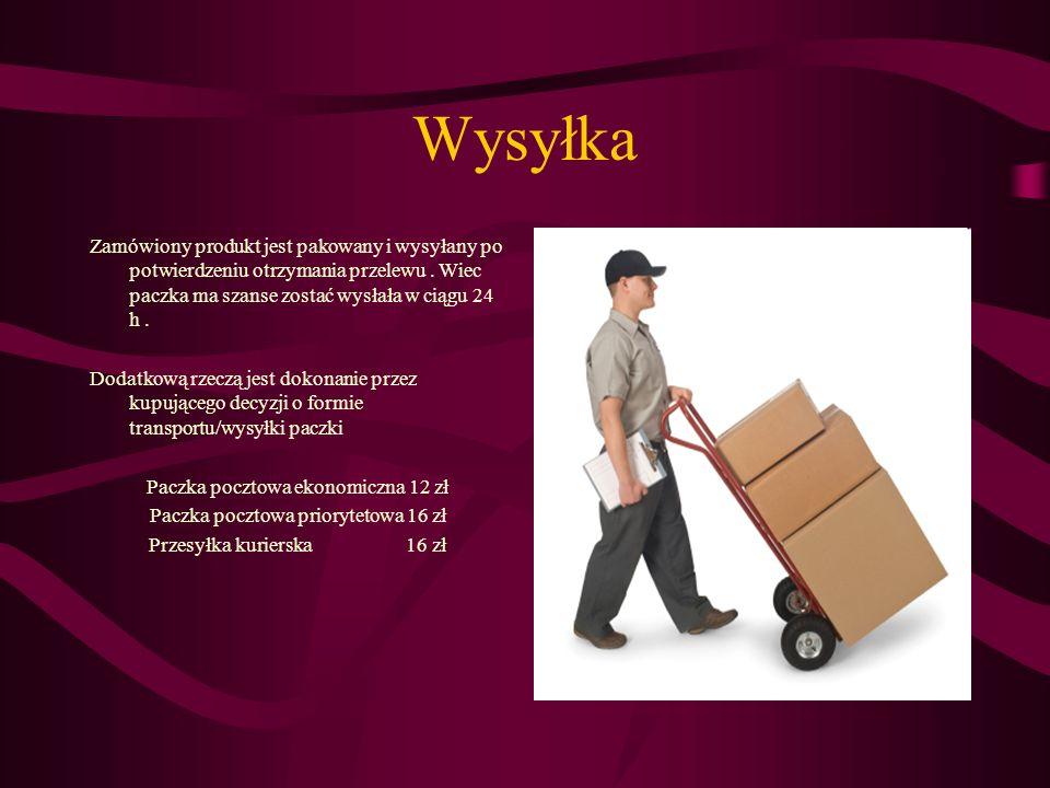 Wysyłka Zamówiony produkt jest pakowany i wysyłany po potwierdzeniu otrzymania przelewu. Wiec paczka ma szanse zostać wysłała w ciągu 24 h. Dodatkową