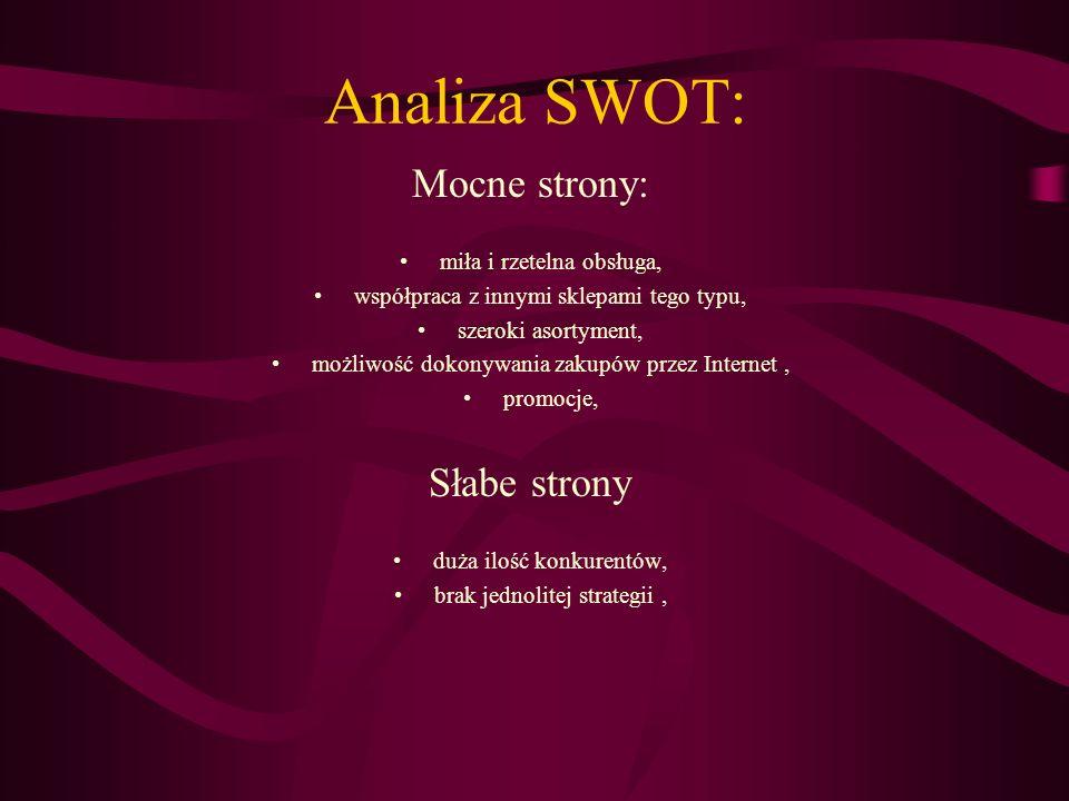 Analiza SWOT: Szanse: Zwiększające się zainteresowanie klientów, Promocje, Powiększanie asortymentu, wprowadzanie nowych towarów, Rozwój technologii, Zagrożenia: Zwiększanie się konkurencji, Możliwość braku zainteresowania klientów,