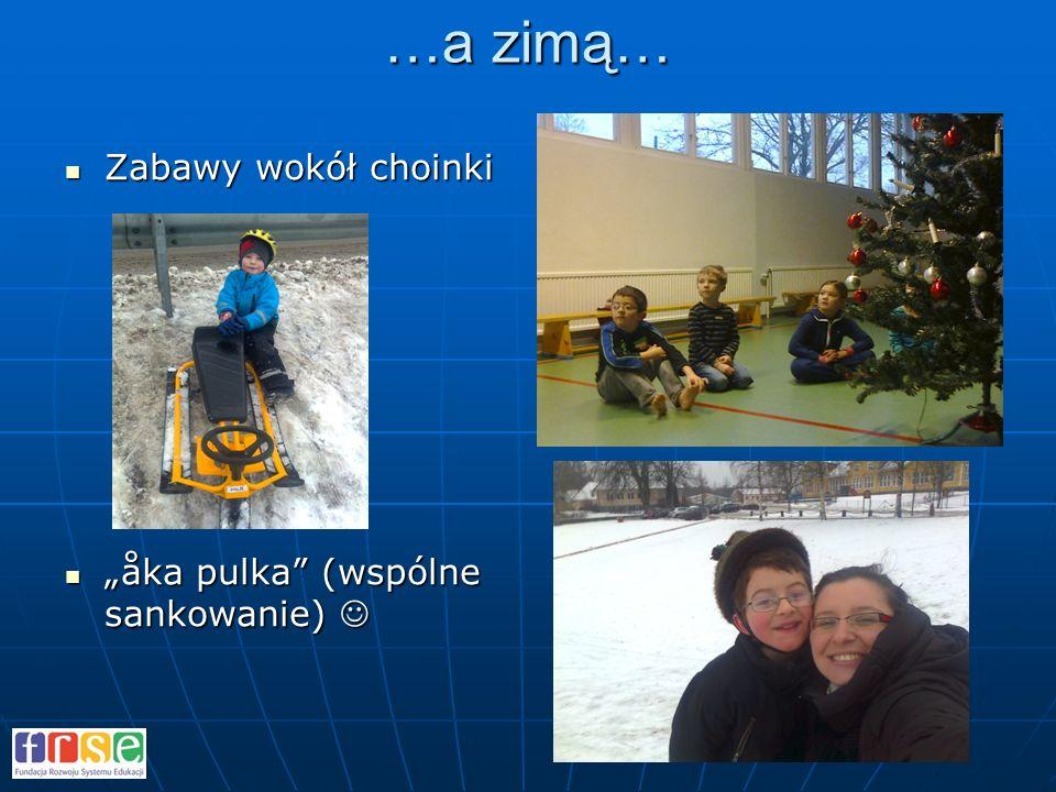 …a zimą… Zabawy wokół choinki Zabawy wokół choinki åka pulka (wspólne sankowanie)åka pulka (wspólne sankowanie)