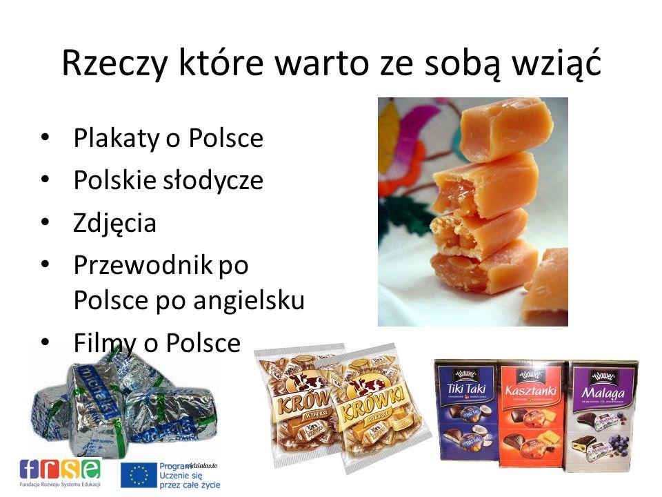 Rzeczy które warto ze sobą wziąć Plakaty o Polsce Polskie słodycze Zdjęcia Przewodnik po Polsce po angielsku Filmy o Polsce