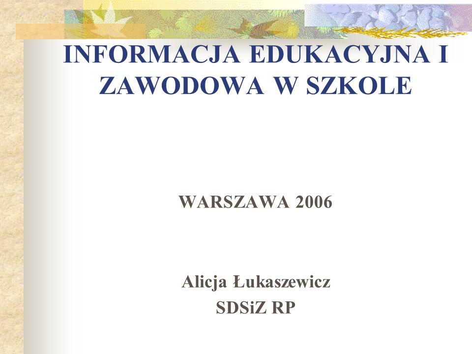 INFORMACJA EDUKACYJNA I ZAWODOWA W SZKOLE WARSZAWA 2006 Alicja Łukaszewicz SDSiZ RP