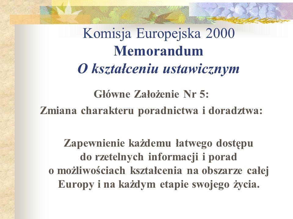 Komisja Europejska 2000 Memorandum O kształceniu ustawicznym Główne Założenie Nr 5: Zmiana charakteru poradnictwa i doradztwa: Zapewnienie każdemu łat