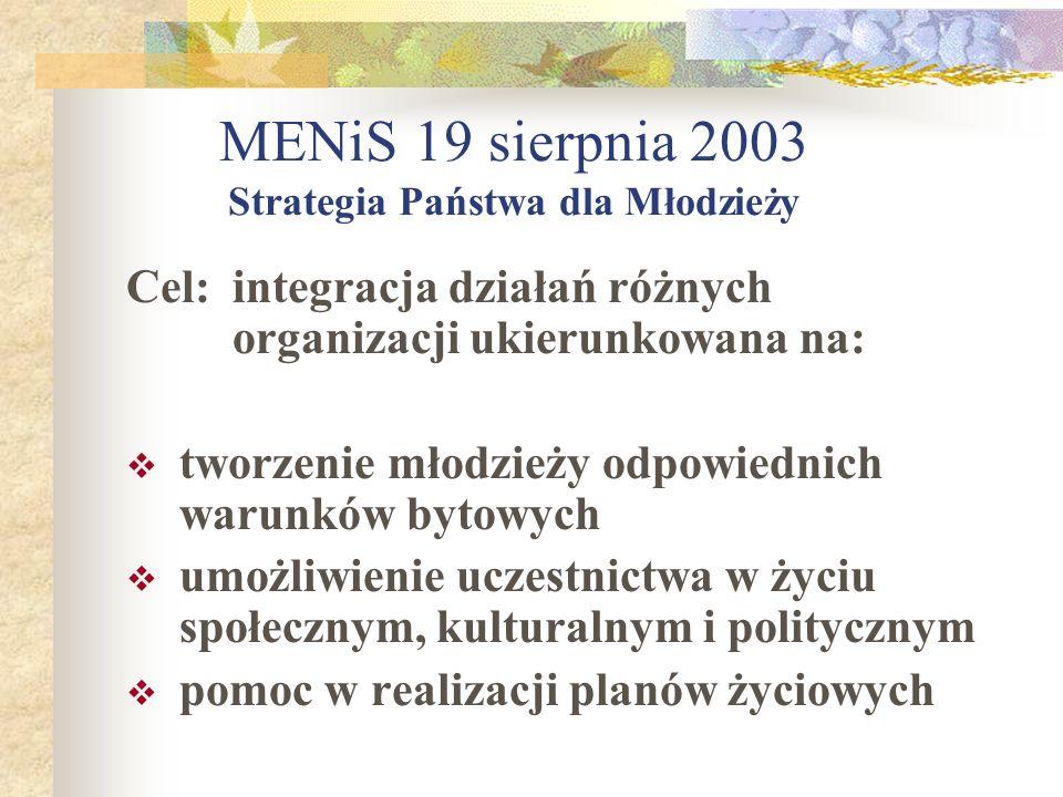 MENiS 19 sierpnia 2003 Strategia Państwa dla Młodzieży Cel:integracja działań różnych organizacji ukierunkowana na: tworzenie młodzieży odpowiednich w