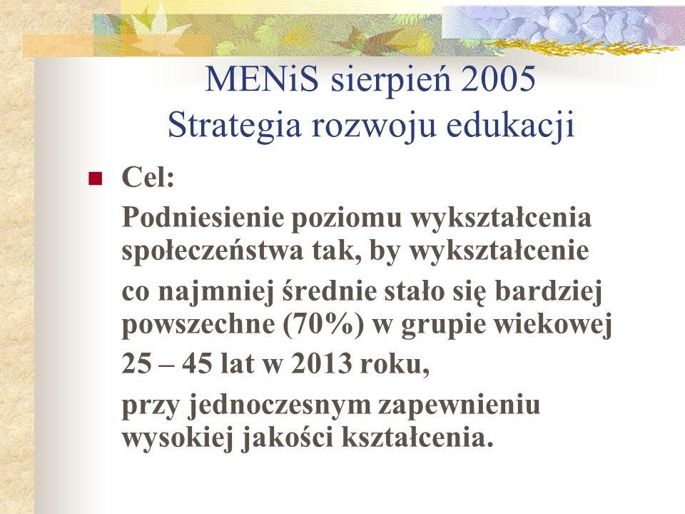 MENiS sierpień 2005 Strategia rozwoju edukacji Cel: Podniesienie poziomu wykształcenia społeczeństwa tak, by wykształcenie co najmniej średnie stało s