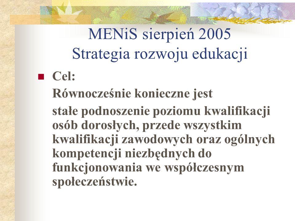 MENiS sierpień 2005 Strategia rozwoju edukacji Cel: Równocześnie konieczne jest stałe podnoszenie poziomu kwalifikacji osób dorosłych, przede wszystki