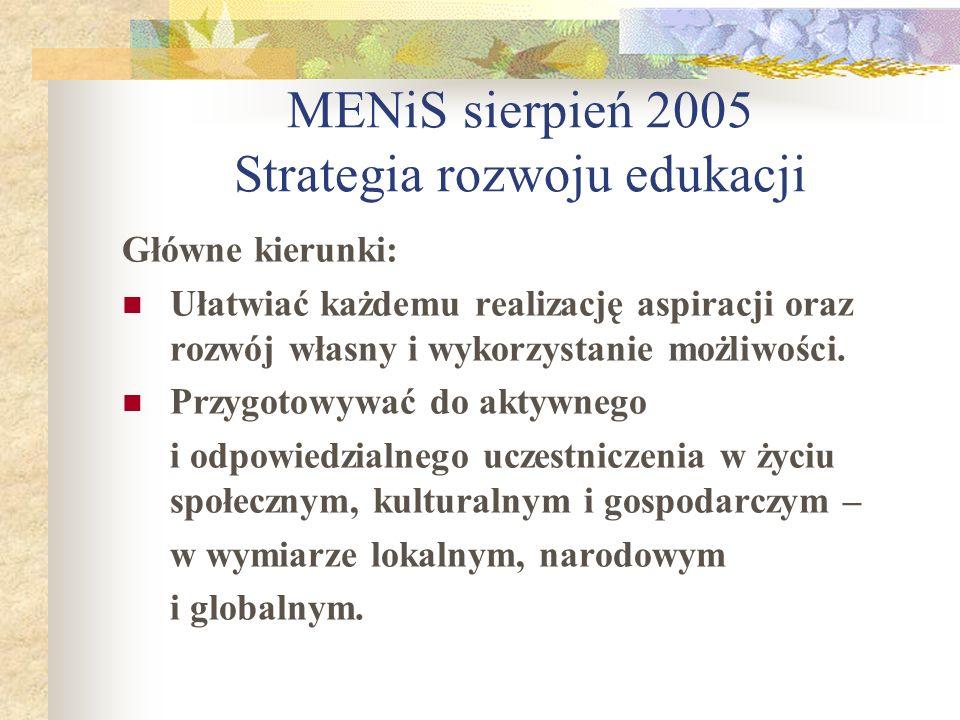 MENiS sierpień 2005 Strategia rozwoju edukacji Główne kierunki: Ułatwiać każdemu realizację aspiracji oraz rozwój własny i wykorzystanie możliwości. P