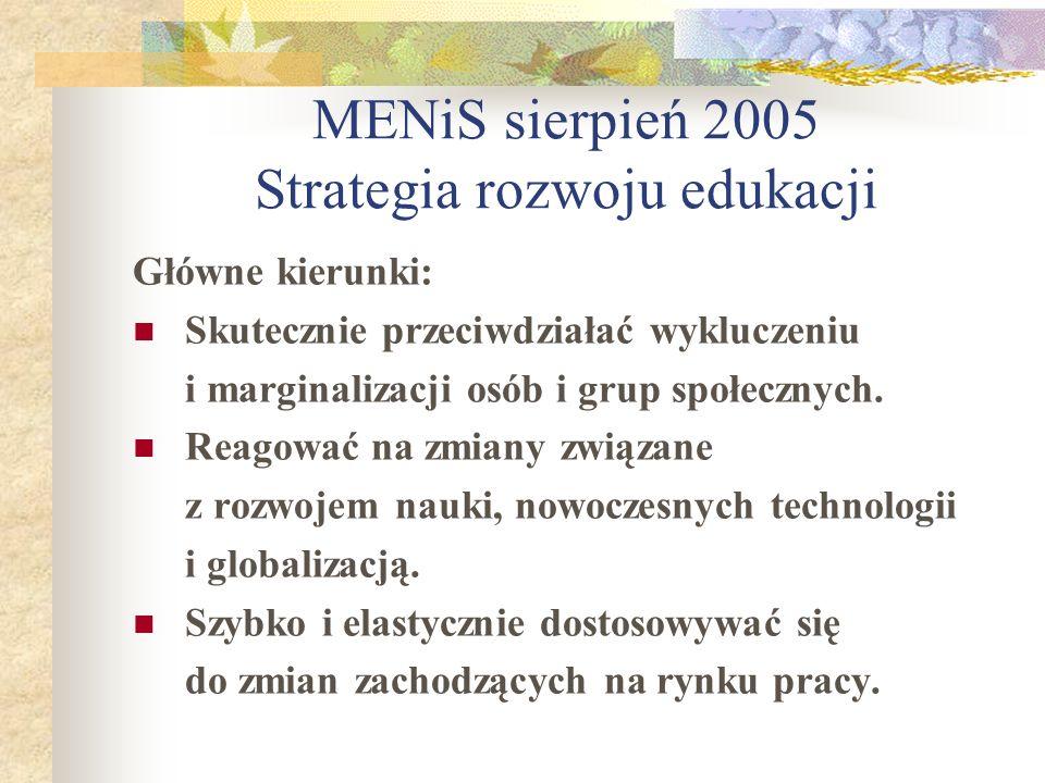 MENiS sierpień 2005 Strategia rozwoju edukacji Główne kierunki: Skutecznie przeciwdziałać wykluczeniu i marginalizacji osób i grup społecznych. Reagow