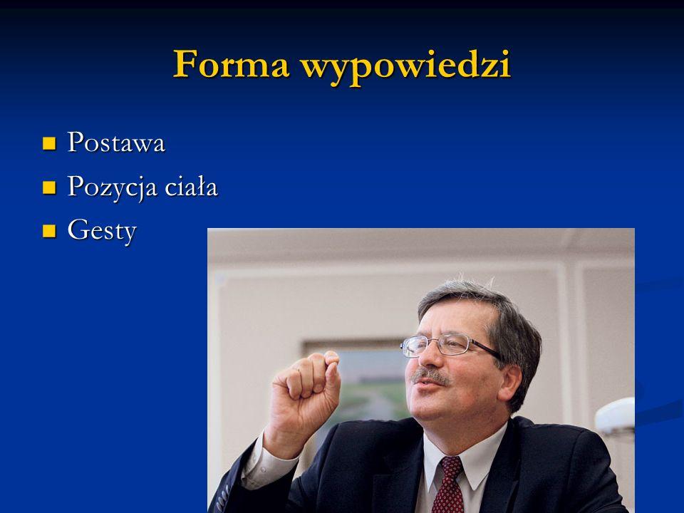 Forma wypowiedzi Postawa Postawa Pozycja ciała Pozycja ciała Gesty Gesty