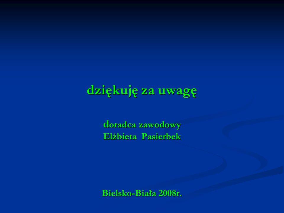 dziękuję za uwagę d oradca zawodowy Elżbieta Pasierbek Bielsko-Biała 2008r.